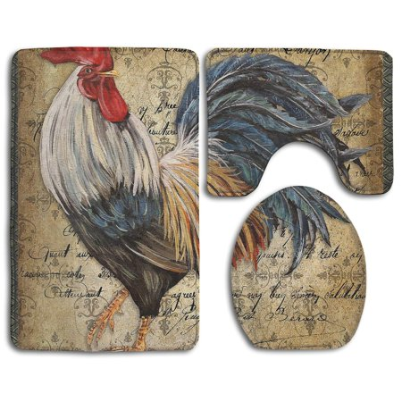 Pudmad Vintage Rooster 3 Piece Bathroom Rugs Set Bath Rug