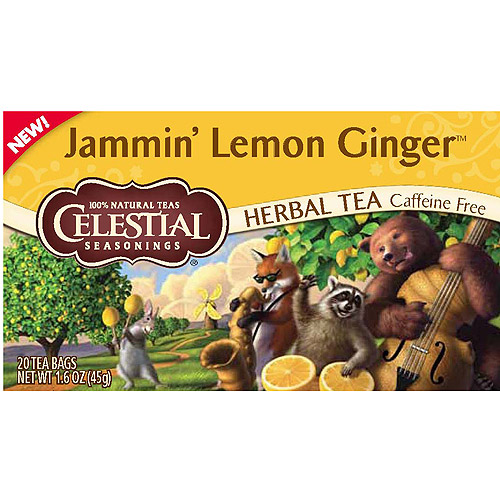 Celestial Seasonings Jammin' Lemon Ginger Herbal Tea Bags, 20 count