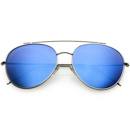 d48e4fd45fc sunglass.la - Oversize Metal Aviator Sunglasses Mirrored Round Lens 60mm  (Silver   Blue Mirror) - Walmart.com