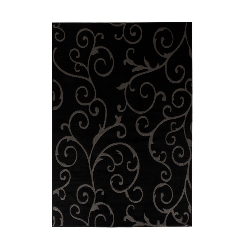 Bella 8x10 Floral Pattern Area Rug 00968a In Black