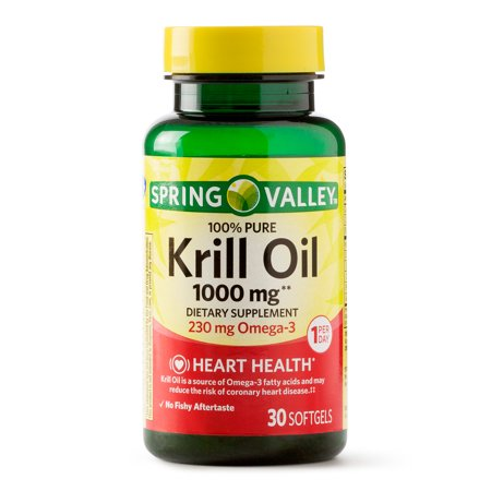 Spring Valley 100% Pure Krill Oil Softgels 1000 mg, 30 (Best Krill Oil 1000mg)
