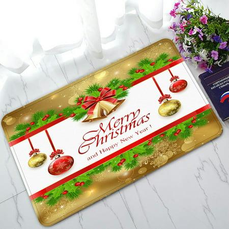 PHFZK Festival Doormat, Golden Christmas Bells Doormat Outdoors/Indoor Doormat Home Floor Mats Rugs Size 30x18 inches Gold Door Mat
