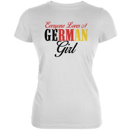 Everyone Loves A German Girl White Juniors Soft T-Shirt - German Beer Girls