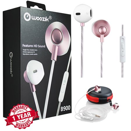 Woozik B900 High Performance Noise Isolating Headphones with Mic, Volume Control and Answer Button - Rose