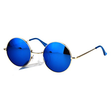 Reflective Color Mirrored Hippie Groove Round Circle Lens Retro Sunglasses Gold Blue ()
