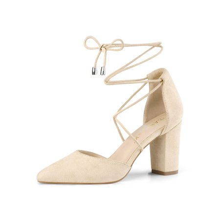 Women's Pointy Toe Chunky Heels Lace Up Pumps Beige (Size - Chubby Costume