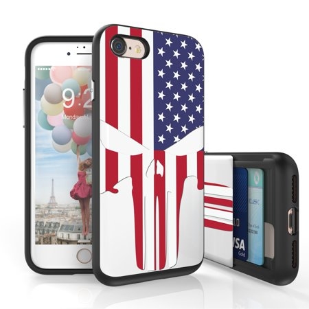 Iphone 7 Case, iPhone 8 Case, DuoShield Slim Wallet Case + Dual Layer Card Holder For Apple Iphone 7, Iphone 8) US Flag Skull](Flag Holder Case)
