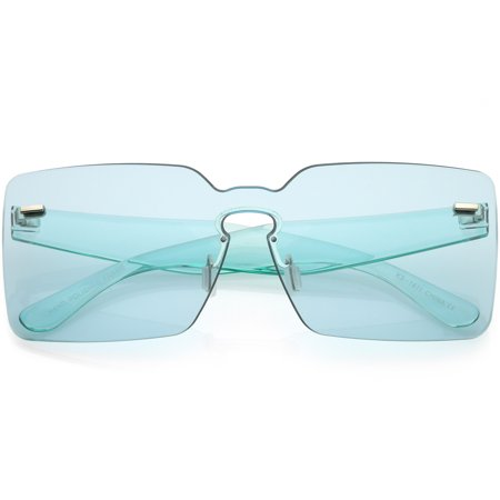 Oversize Square Rimless Sunglasses Wide Arms Color Tinted Mono Lens 68mm (Blue) ()