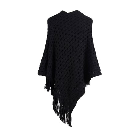 Juniors Oversized Knitted Sweater Layer Tassel Sweater Cape Pullover Knitting Crochet Poncho Warm Shawl Wrap Coat
