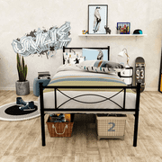 Easy Assembly 12.7inch High Metal Platform Bed Frame with Bowknot Headboards Size Twin