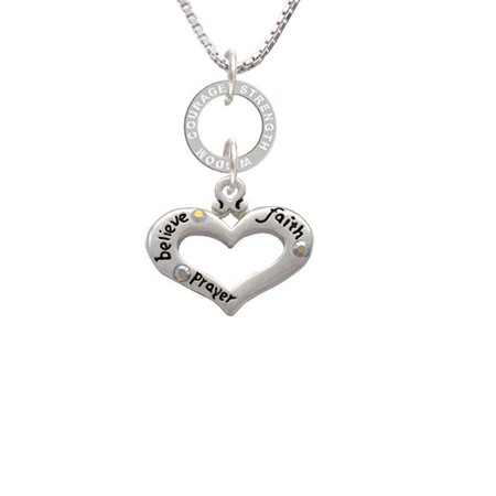 Delight Jewelry - Heart with 3 AB Crystals - Believe Faith