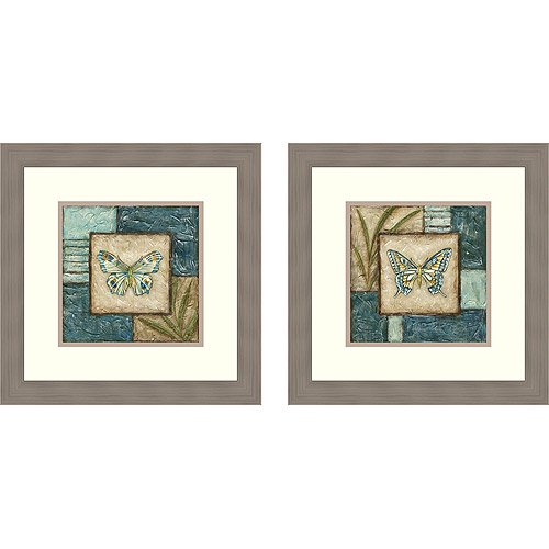 butterfly montage framed art set of 2. Black Bedroom Furniture Sets. Home Design Ideas
