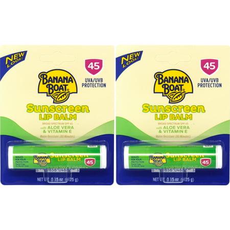 2 Pk Banana Boat Aloe Vera with Vitamin E Sunscreen Lip Balm, SPF 45 - .15oz Ea Aloe Vera Lip Balm