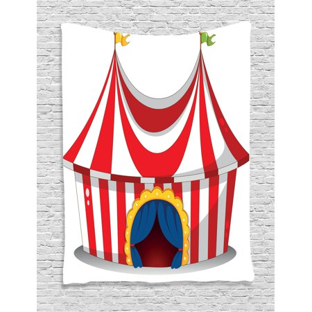 Circus Decor Wall Hanging Tapestry, Illustration Of Retro Circus With Flag Nostalgic Fun Festival Carnival Venue Artistic Work, Bedroom Living Room Dorm Accessories, By Ambesonne (Circus Decor)
