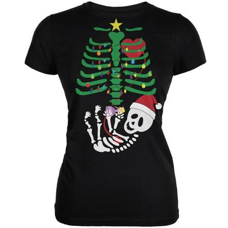 Front Junior Baby Doll T-shirts - Christmas Tree Baby Skeleton Doll Black Juniors Soft T-Shirt