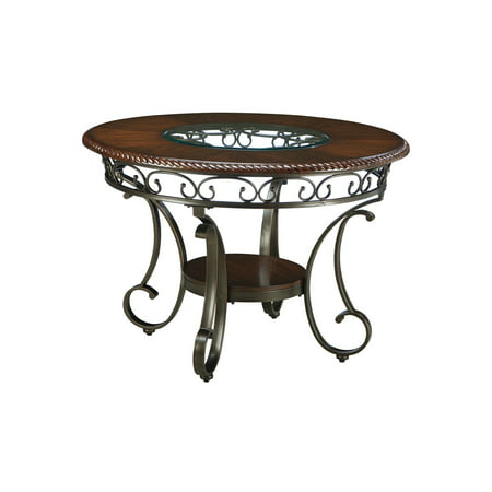 Signature Design By Ashley - Glambrey Round Dining Room Table - Traditional Style - Brown ()