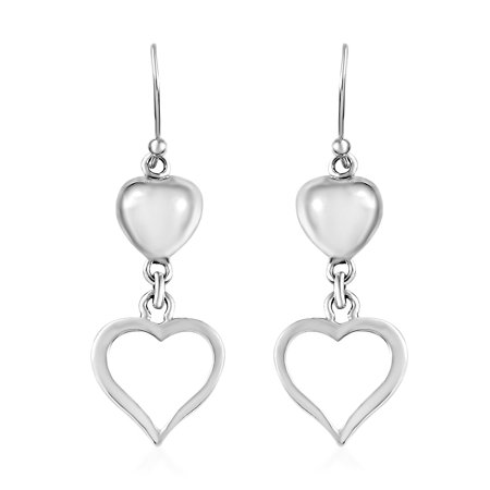 925 Sterling Silver Dangling Dangle Drop Love Heart Valentines Earrings Gift Jewelry for Women
