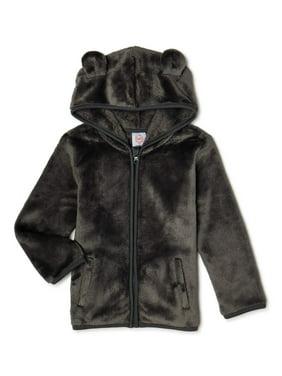 Wonder Nation Toddler Boy Furry Fleece Bear Ear Hoodie (2T-5T)