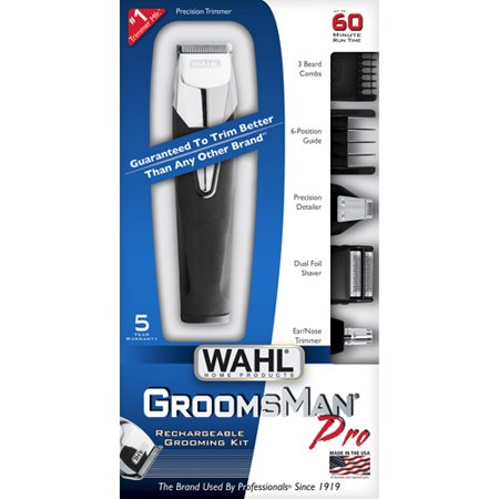 wahl groomsman pro all in one men 39 s grooming kit rechargeable beard trimmers hair clippers. Black Bedroom Furniture Sets. Home Design Ideas