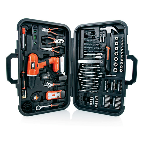 Black & Decker 20-Volt Lithium Drill and 133-Pieces Home Project Kit, LD120PK