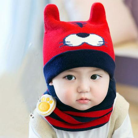 5f3a3502de1 Newborn Kids Baby Boy Girl Cartoon Hat Warm Knit Crochet Beanie Cap Scarf  Set - Walmart.com
