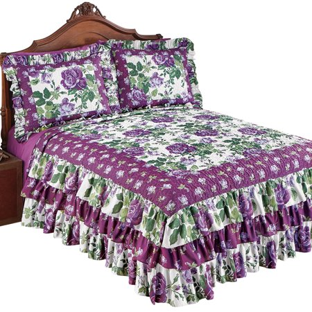 Roseland Ruffled Bedspread with Purple Roses and Fresh Green Floral Pattern, Queen, Purple Floral