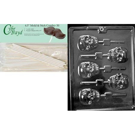 Cybrtrayd 45St50-H121 Scary Skull Lolly Halloween Chocolate Candy Mold with 50 4.5-Inch Lollipop Sticks - Jello Jiggler Molds Halloween