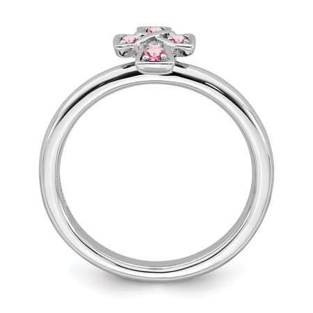 Sterling Silver Stackable Expressions Rhodium Pink Tourmaline Cross Ring Size 5 - image 1 of 3