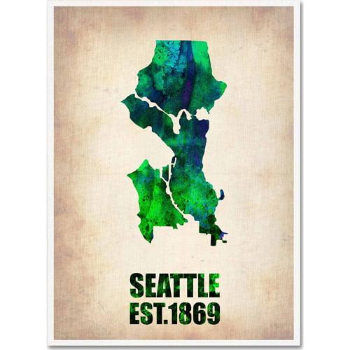 "Trademark Fine Art ""Seattle Watercolor Map"" Canvas Art by Naxart"