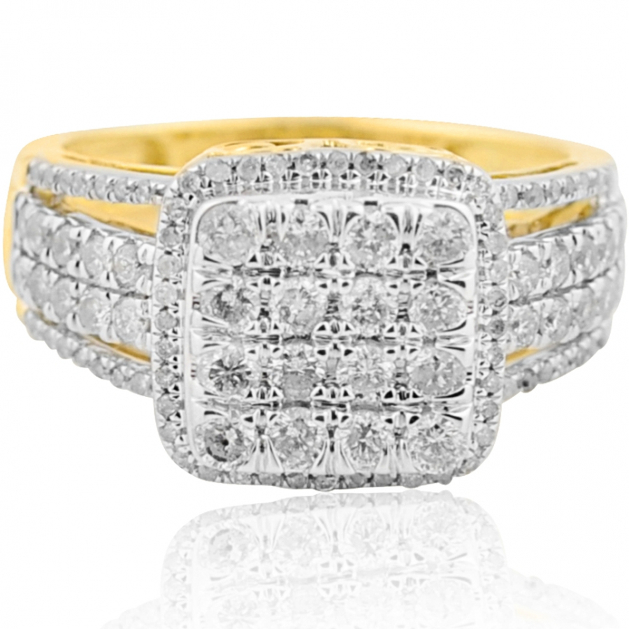 1.00ctw Diamond Bridal Wedding Ring Extra Wide 11mm 10K Yellow Gold by Midwest Jewellery