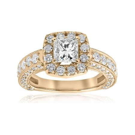 2 1/2ct Princess Cut Diamond Engagement Ring Cushion Halo Yellow