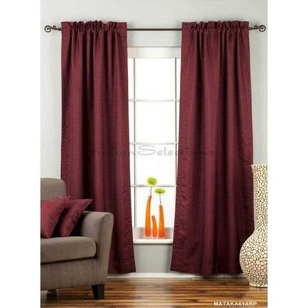 Dark Maroon Rod Pocket Matka Raw Silk Curtain / Drape / Panel - Piece (Raw Panel)