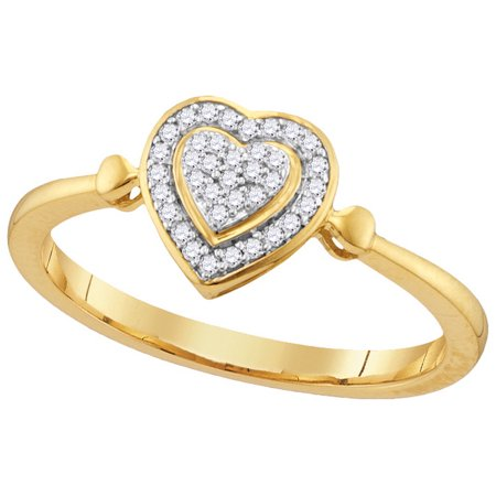 Size - 7 - Solid 10k Yellow Gold Round White Diamond Engagement Ring OR Fashion Band Channel Set Heart Shaped Halo Ring (1/10 -