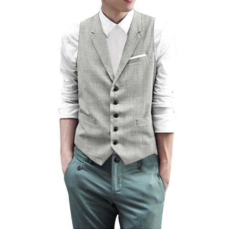 Unique Bargains Men's Notched Lapel Single Breasted Slim Fit Tuxedo Vest