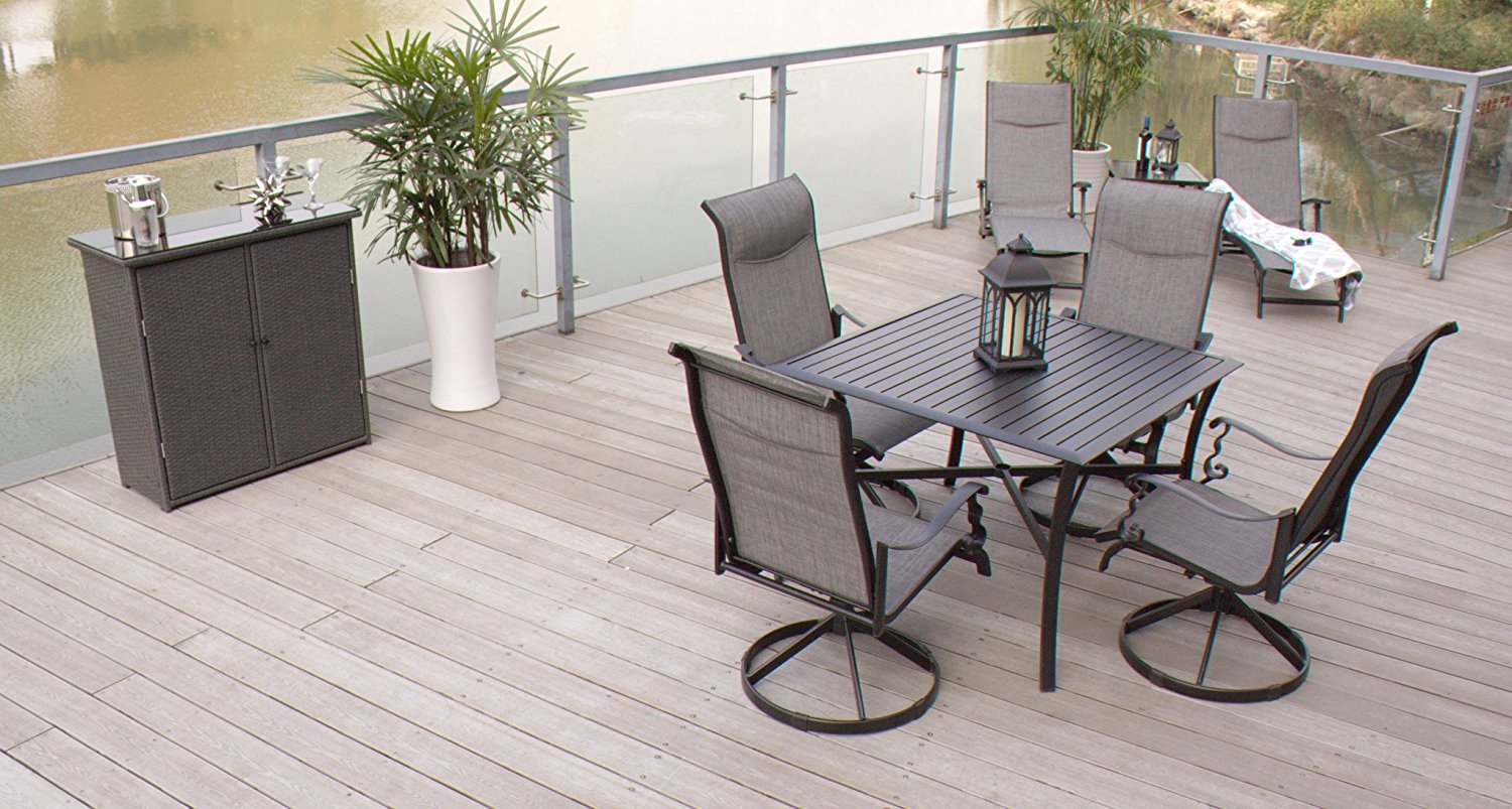 5pc Cast Aluminum Swivel Patio Furniture Dining Room Set with Slat Top Table- Black & Grey by Pebble Lane Living