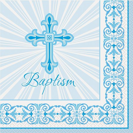 Brand New  Radiant Cross Blue Baptism Party Napkins, 16ct Baptism Napkins, High-quality](Baptism Party)