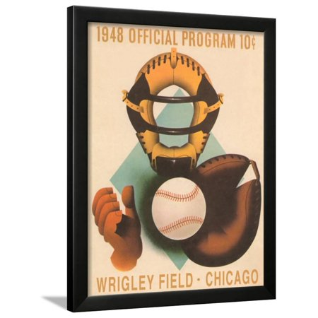 Wrigley Field Poster with Phantom Catcher Framed Print Wall Art Wrigley Field Framed Pictures