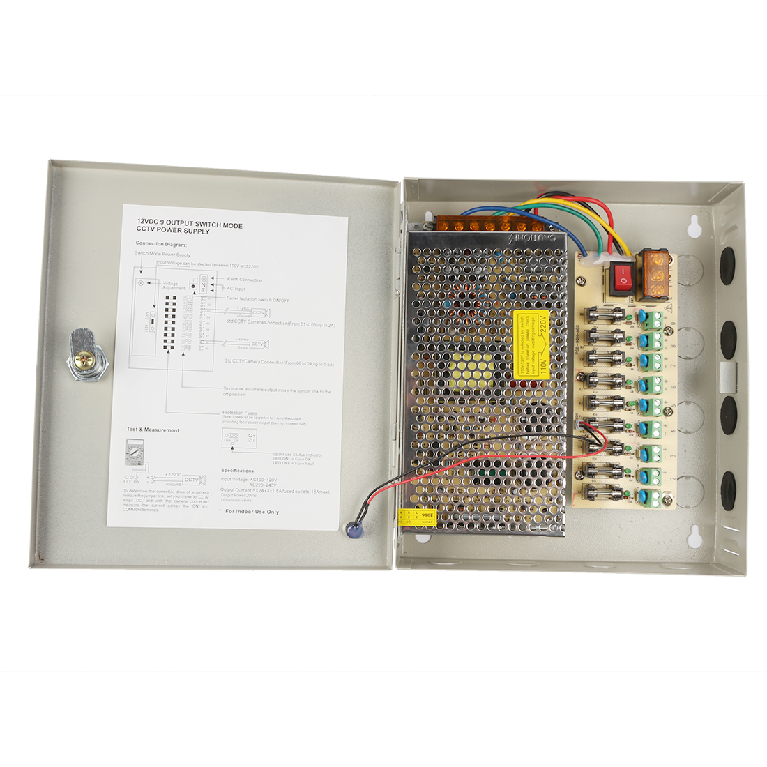 Dc 12v 15a 180w 9 Channel Cctv Distributed Power Supply Box For Wiring Diagram Security Camera