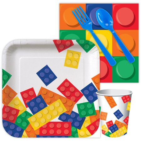 Lego Look Block Party Birthday Standard Tableware Kit (Serves 8) - Supplies - Birthday Party Stores