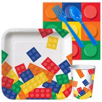 Lego Look Block Party Birthday Standard Tableware Kit (Serves 8) - Supplies