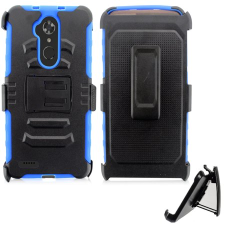 Phone Case for Straight Talk ZTE Max-Blue 4G LTE (Z986DL)/ ZTE Blade-Max-3 / Virgin ZTE Max-XL Rugged Cover Kickstand Combo Holster Belt Clip ( Holster-Blue Edge Case ) (Virgin Mobile Zte N800)