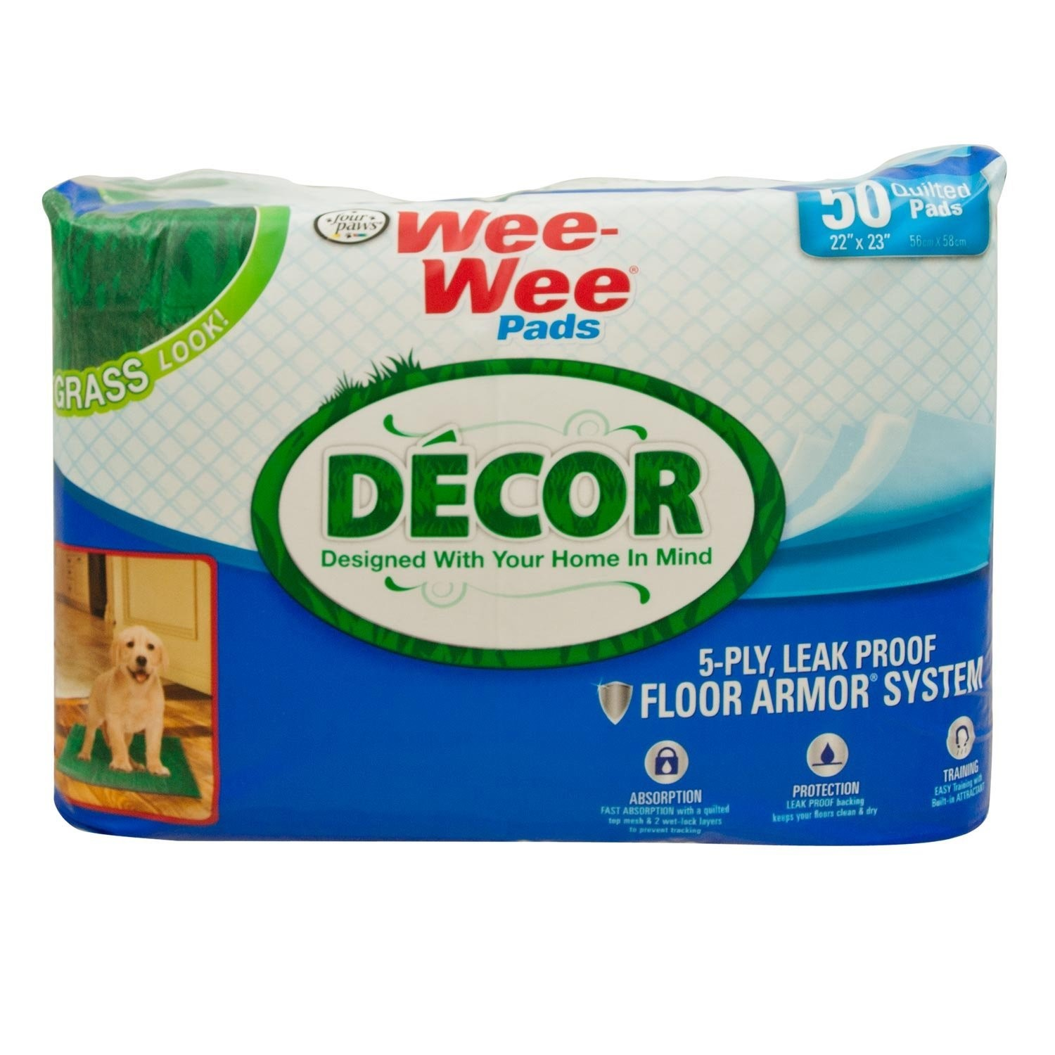 Four Paws Wee-Wee Grass D?cor Dog House Breaking Pads, 50 Count