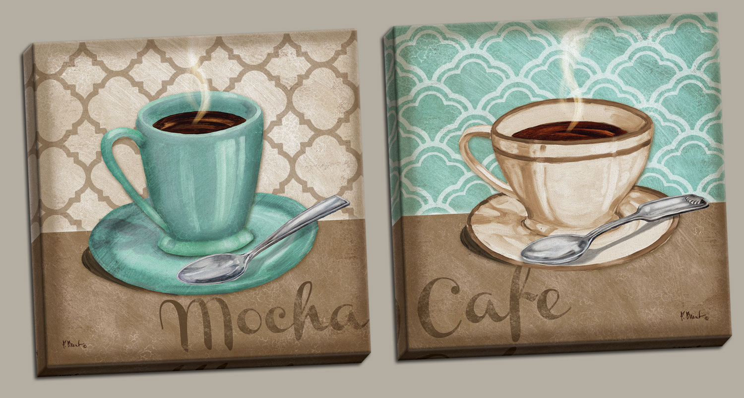 2 Trellis Cafe and Mocha Quartrefoil Brown and Teal Cups of Coffee; Kitchen Décor; Two 12x12in Stretched Canvases;... by Gango Home Décor