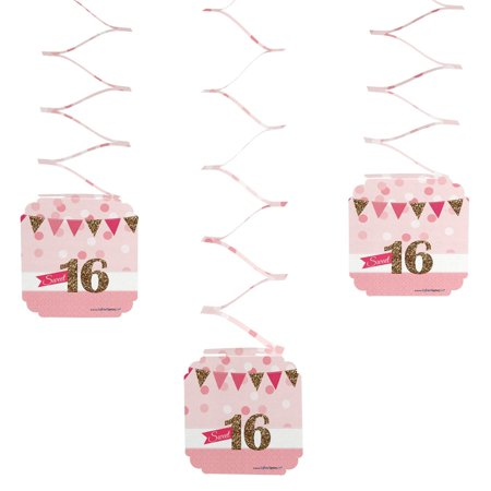 Sweet 16 - 16th Birthday Party Hanging Decorations - 6 Count