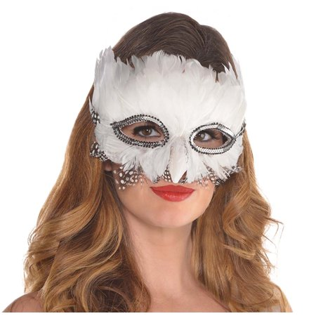 Adult Animal Mask (Snow Owl Womens Adult Animal Bird Costume Feather)