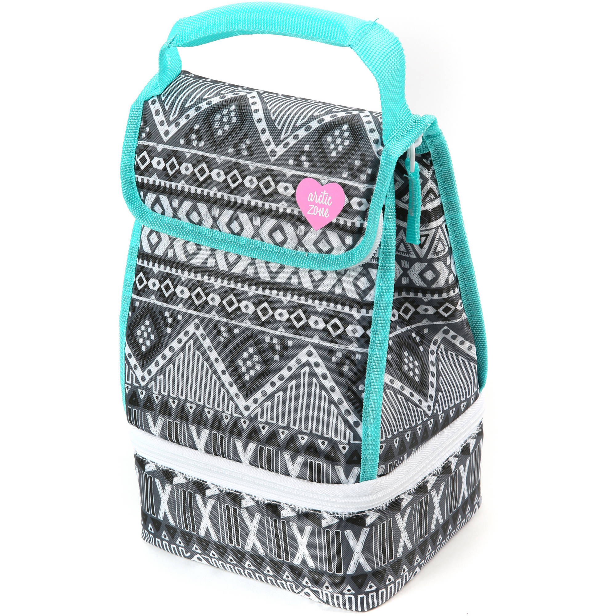 Artic Zone Lunch Bag Plus, Black and White Aztec