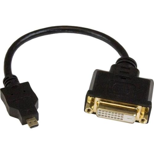 "Startech.com Micro Hdmi To Dvi-d Adapter M/f - 8in - Hdmi/dvi For Monitor, Projector, Phone, Notebook - 8"" - 1 Pack - 1 X Micro Hdmi Male Digital Audio/video - 1 X Dvi-d Female Digital (hdddvimf8in)"