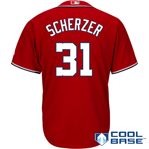 Men's Majestic Max Scherzer Scarlet Washington Nationals Cool Base Player Jersey by MAJESTIC LSG