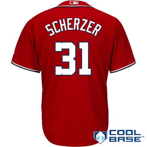 Max Scherzer Washington Nationals Majestic Cool Base Player Jersey - Scarlet