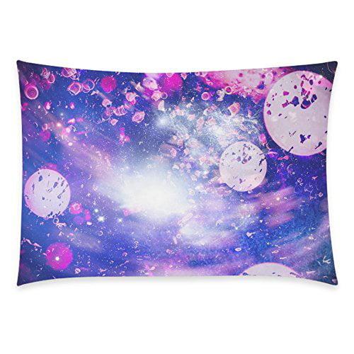 ZKGK Nebula Galaxy Space Universe Home Decor, Beautiful Rose Floral Print Pillowcase 20 x... by ZKGK